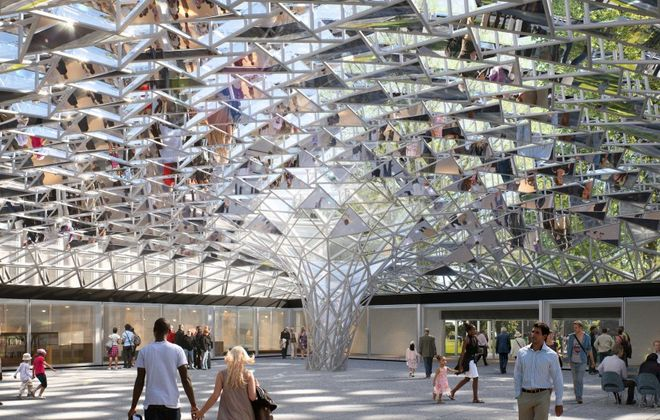 A rendering shows a new mirrored and clear glass roof created by Danish-Icelandic artist Olafur Eliasson for the Albright-Knox Art Gallery's current courtyard. (Image via Albright-Knox Art Gallery)