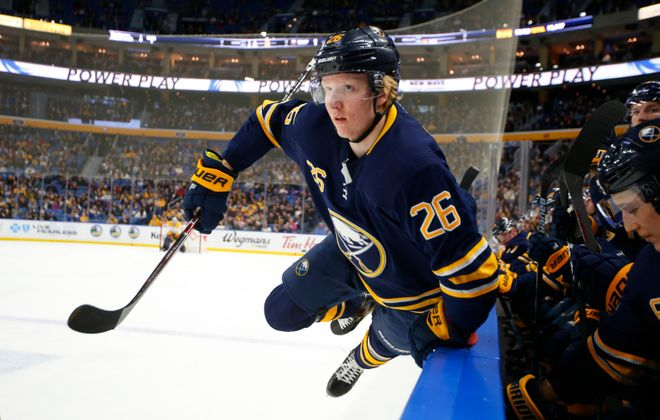Sabres defenseman Rasmus Dahlin leapt into his rookie season with nine goals and 44 points, second-most in NHL history by an 18-year-old defenseman. (Harry Scull Jr./News file photo)