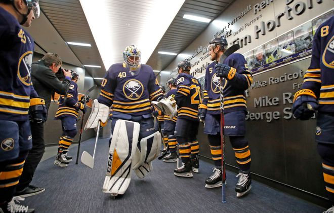 Buffalo Sabres goaltender Carter Hutton makes his way to pregame prior to playing the Ottawa Senators at the KeyBank Center on Thursday, April 4, 2019. (Harry Scull Jr./Buffalo News)