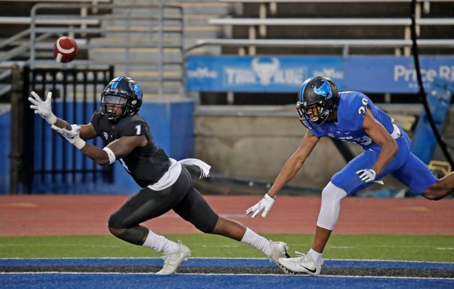 Buffalo receiver Antonio Nunn catches a touchdown pass during the UB football spring game at UB Stadium on April 12, 2019. (Harry Scull Jr./News file photo)