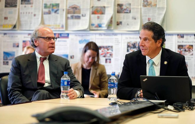 Gov. Andrew M. Cuomo, right, deferred to Howard Zemsky when asked about the future of the home of the Buffalo Bills. (Mark Mulville/Buffalo News)