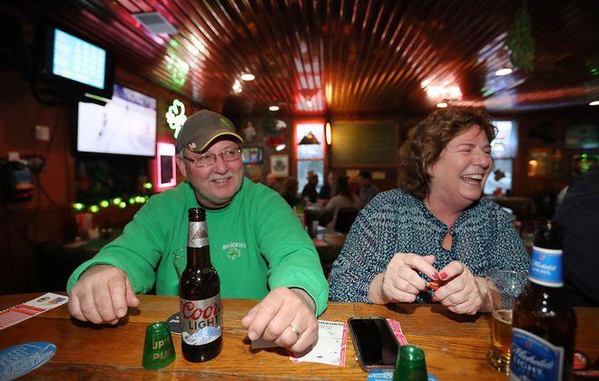JP's Pub regulars Jim and Sharon Sullivan of Lake View sit at the bar. (Sharon Cantillon/Buffalo News)