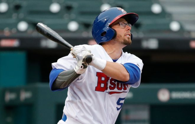 Buffalo Bisons' Eric Sogard belted a home run in Saturday's win over Scranton/Wilkes-Barre at Sahlen Field, (Harry Scull Jr./Buffalo News)