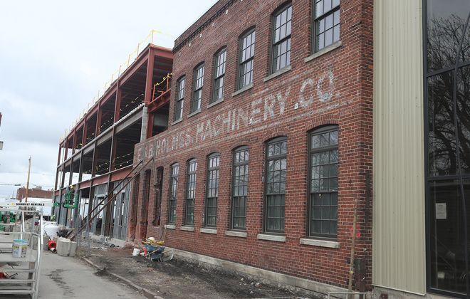 The Cooperage incorporates a historic section of the E.B. Holmes Machinery building into the structure. (John Hickey/Buffalo News)