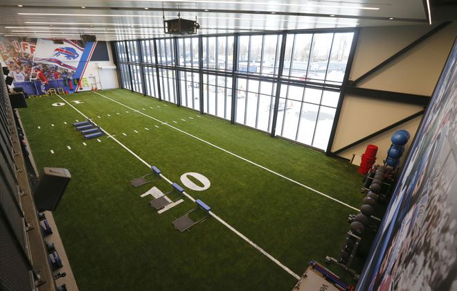 In the Bills' new state-of-the-art training center, rehabbing players will be able to use a new turf training area instead of having to be on the sideline of the main practice field. (Mark Mulville/Buffalo News)