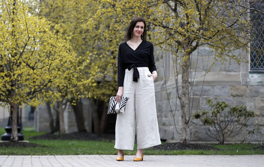 Janet McNally, poet and novelist, was photographed for Fashion Friday at Canisius College, where she is an associate professor of English.  (Mark Mulville/Buffalo News)