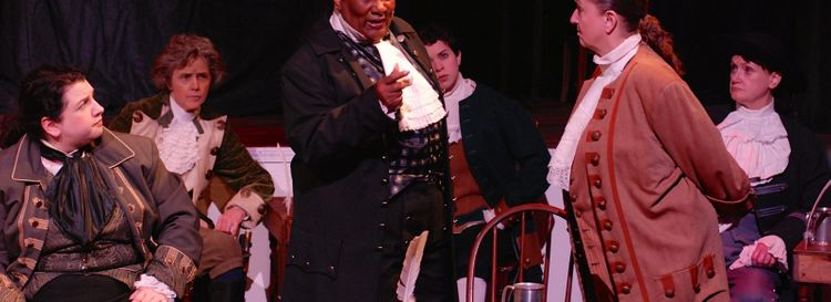 """O'Connell & Company  presents an all-female version of """"1776"""" with great success. It stars, from left, Sara Kovacsi,  Priscilla Young, Mary Craig, Marissa Biondolillo, Pamela Rose Mangus and Mary Moebius."""