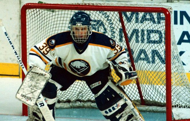 Buffalo Sabres goalie Dominik Hasek in Game 6 against the New Jersey Devils in 1994. (James P. McCoy/News file photo)