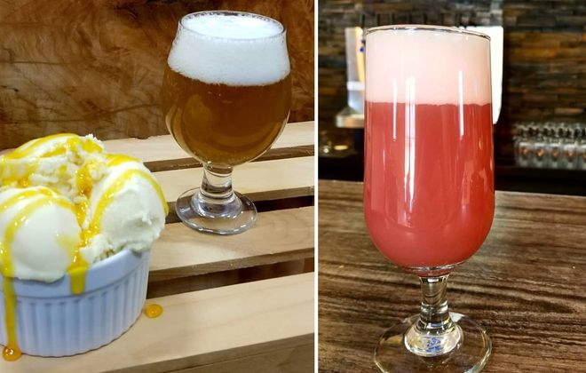 Cold summer treats offered from In the Mix have included the Swurl IPA beer frozen custard, left, the Swurl IPA, middle; and the blackberry wheat. (via In The Mix)