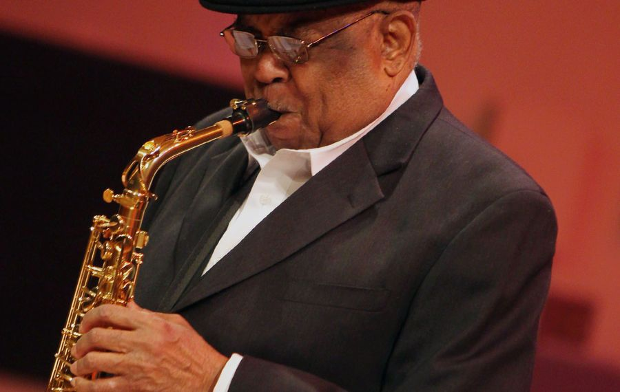 Saxophone player Charles Reedy is a U.S. Army veteran who fought in the Korean War in 1953. He said he was among the soldiers at the Battle of Pork Chop Hill. (File photo/Mark Mulville/Buffalo News)