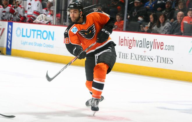 Williamsville native Justin Bailey was traded from the Sabres to the Flyers in January. (Photo courtesy of Lehigh Valley Phantoms)