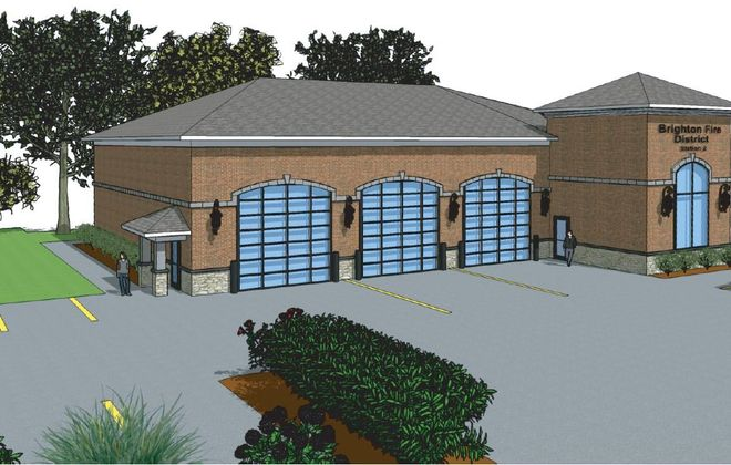 This rendering shows the fire substation that soon will replace the Brighton Fire District's No. 2 station in the Town of Tonawanda. (Image courtesy Brighton Fire District)