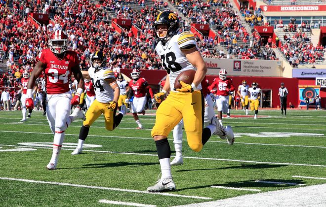 Iowa's T.J. Hockenson is likely to be the first tight end taken in this month's NFL draft. (Getty Images)