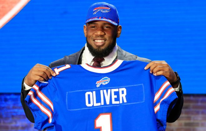 Bills defensive tackle Ed Oliver had five sacks as a rookie, tops among interior defensive linemen. (Getty Images)