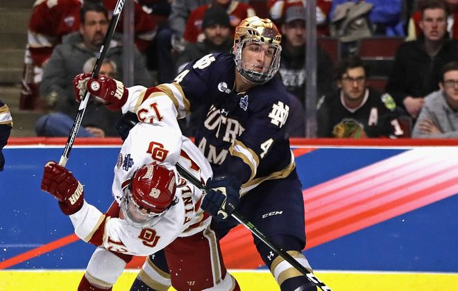 Dennis Gilbert signed a three-year entry-level contract with the Blackhawks last May after completing his junior season at Notre Dame. (Jonathan Daniel/Getty Images)