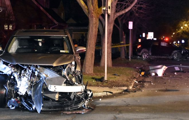 Police say John Davis of Niagara Falls fled police in his car and caused this accident at 27th Street and Ferry Avenue. (Larry Kensinger/Special to The News)