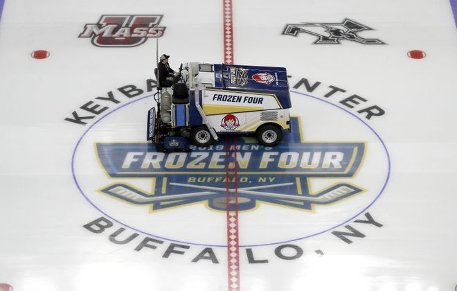 Crews prepare KeyBank Center for this weekend's NCAA Frozen Four games in Buffalo. (Mark Mulville/Buffalo News)