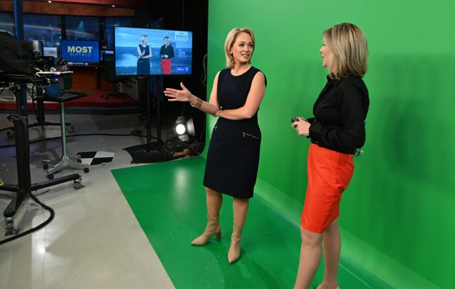 """Kate Welshofer, left, and Maria Genero on the set of """"Most Buffalo"""" on WGRZ Channel 2 (Photo courtesy of WGRZ)"""