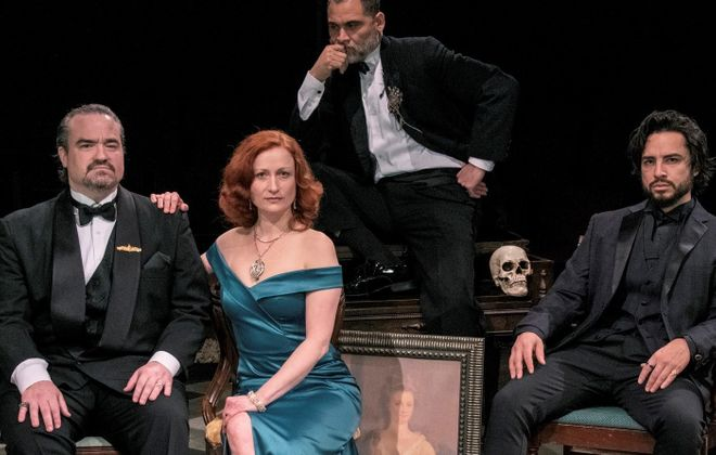 "From left: Matt Witten as Claudius, Kristen Tripp Kelley as Gertrude, Rolando Martin Gomez as the Ghost and Anthony Alcocer as Hamlet in Irish Classic Theatre Company's ""Hamlet."" (Gene Witkowski/Special to Then News)"
