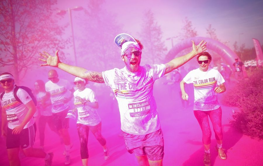 The Color Run is one of the multiple traveling festivals across the country that combine running, dancing and music. (Photo by Jordan Mansfield/Getty Images for Dulux)