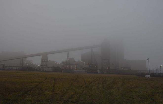 The Somerset Operating Co. power plant, shrouded in fog. (John Hickey/Buffalo News)