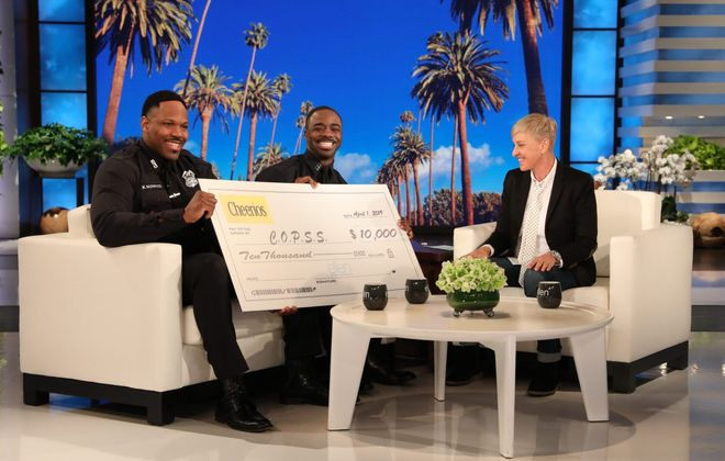 """Michael Norwood, left, and Moe Badger received a $10,000 donation to their community organization during their visit to """"The Ellen DeGeneres Show."""" (Michael Rozman/Warner Bros.)"""