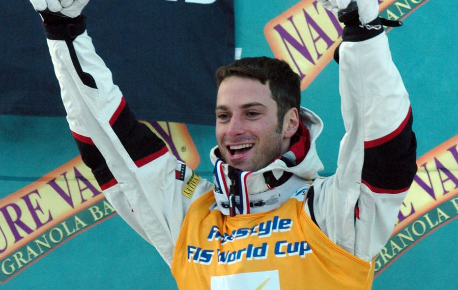 Travis Mayer celebrates after his World Cup victory at Whiteface Mountain in Lake Placid in 2004. Mayer joins 12 other inductees into the Greater Buffalo Sports Hall of Fame's Class of 2019. (Mark Mulville/News file photo)