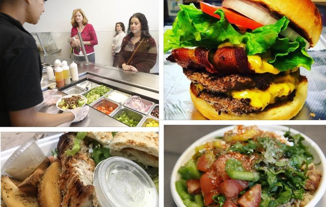 Clockwise, from upper left: Customers at Rachel's Mediterranean, a burger from Flip Burger, a bowl from Rachel's and a chicken souvlaki platter from Souvlaki Fast. (News file photos, but Flip Burger is via Flip).