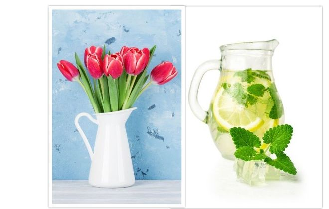 Pretty pitchers ... our next Reader Challenge. These are just two ideas. How do you use your pitcher? Please send us a photo.