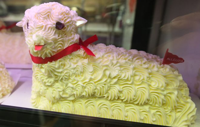 Malczewski's butter lambs at the Broadway Market are a classic Buffalo sign of Easter. This one appears to have some personality. (Sharon Cantillon/News file photo)