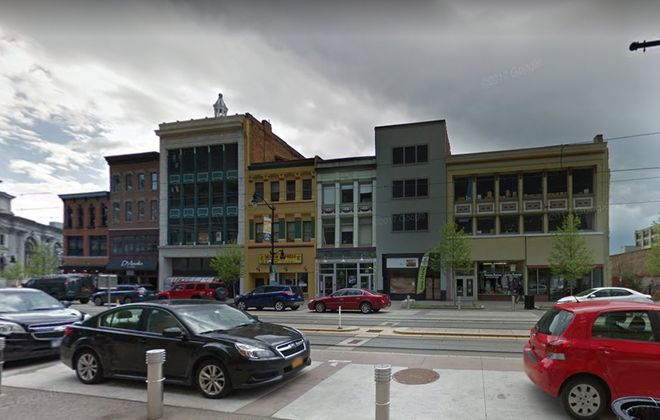 Buildings on Main Street that are up for sale. (Google)