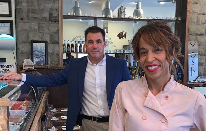 In April, Samuel Marabella, left, made ex-wife Jennifer Marabella a partner in East Aurora's Yoshi. (Photo courtesy Yoshi)