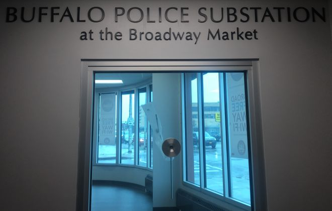 The new Buffalo Police Department substation opens in about a month at the Broadway Market. Mayor Byron W. Brown made the announcement Friday during the annual kick-off of the Easter season at the market.