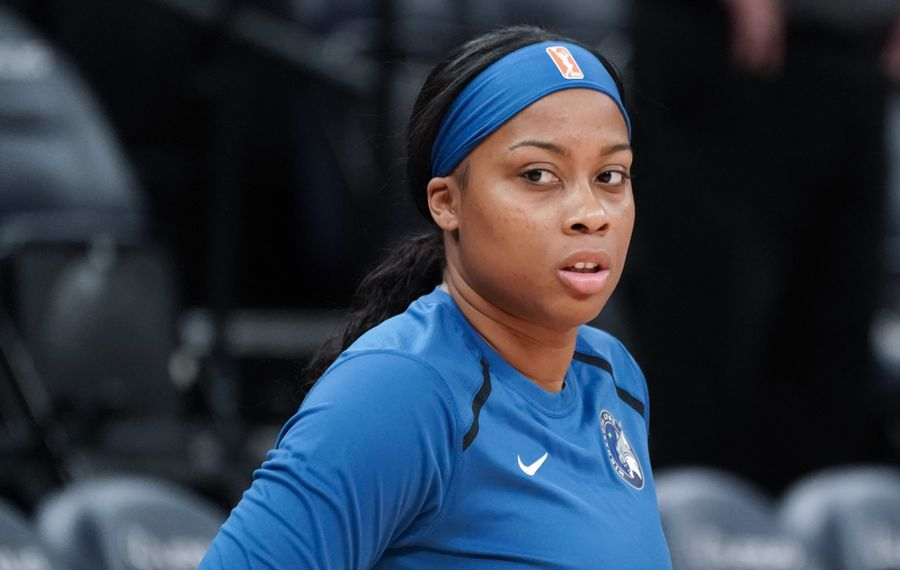 Cierra Dillard, former UB star, warmed up with the Minnesota Lynx before Friday's preseason game (Glen Stubbe/Special to the News)