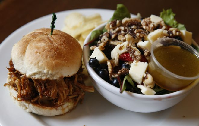 Try a  lunch combo like a  Grover Cleveland sandwich and the Kaldi salad at Undergrounds. (Sharon Cantillon/Buffalo News)