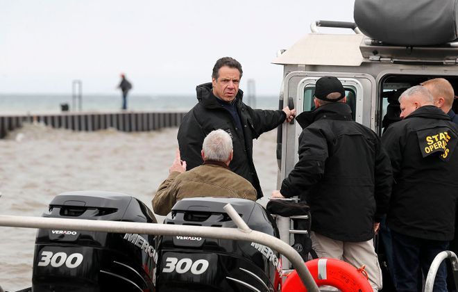 Gov. Andrew M. Cuomo on an earlier visit to Olcott. (Mark Mulville/News file photo)
