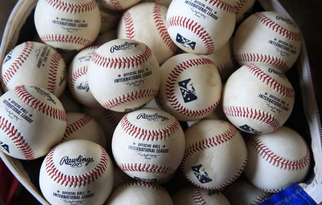 Baseballs that have had been rubbed down for the May 3 Buffalo Bisons-Lehigh Valley IronPigs at Sahlen Field. This season marks the first time the International and Pacific Coast leagues are playing with the same ball as Major League Baseball. (Harry Scull Jr./Buffalo News)