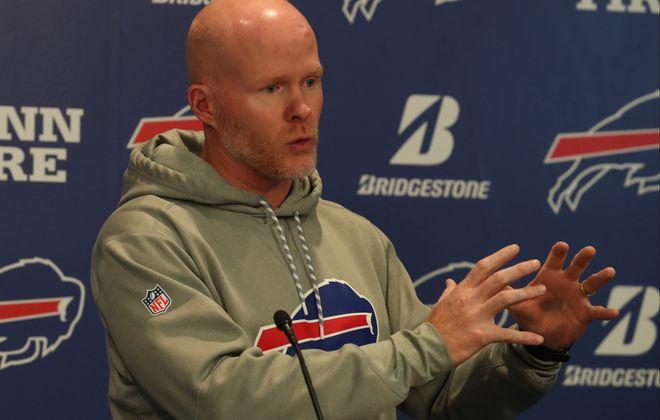 Buffalo Bills head coach Sean McDermott talks to the press before the Bills practice (James P. McCoy/Buffalo News)