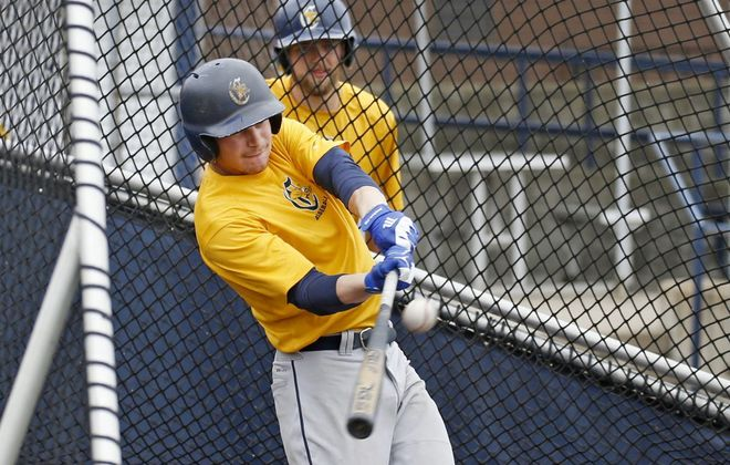 Senior infielder Conner Morro at batting practice at the Demske Sports Complex at Canisius College on Monday, May 20, 2019. (Robert Kirkham/Buffalo News)