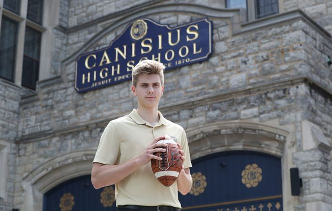 Canisius High quarterback Christian Veilleux is being recruited by Power 5 schools around the country and has spent his spring touring schools on unofficial visits. (James P. McCoy/Buffalo News)