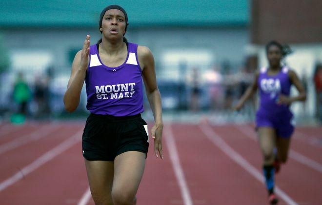Kayla Hall from Mount St. Mary won the varsity 400-meter dash last year as a freshman at the Monsignor Martin Track and Field Championship meet last year to qualify for the NYSCHSAA meet. (Harry Scull Jr./Buffalo News)