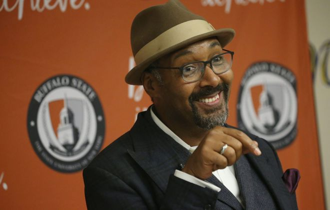 Actor Jesse L. Martin, who is giving the commencement address Saturday at SUNY Buffalo State College talks to the media Friday while touring the campus. (Derek Gee/Buffalo News)