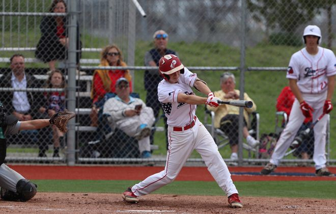 Iroquois' Owen Hovey drives in the lone run of the game with his RBI single against Lake Shore in the Class A-2 final Thursday. (John Hickey/Buffalo News)