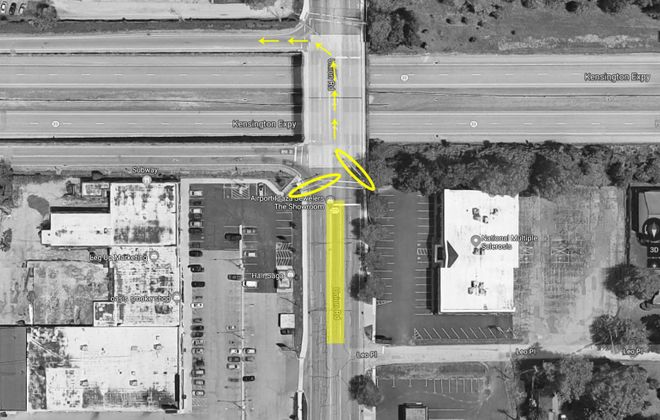 Northbound traffic on this stretch of Union Road in Cheektowaga goes through a turning lane (yellow rectangle) and two traffic lights (circled) before Kensington-bound drivers turn left. (Google Maps images)