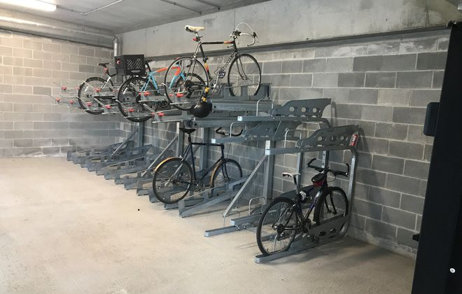 Buffalo Niagara Medical Campus Inc. added dozens more bike parking spaces on the Medical Campus this month, including 30 spaces indoors. (Photo courtesy of BNMC Inc.)