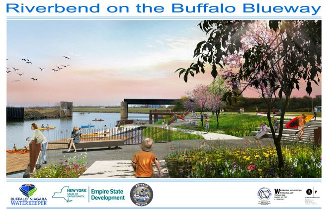 What the shoreline portion of the transformed Riverbend site could look like. (Image courtesy of Buffalo Niagara Waterkeeper)