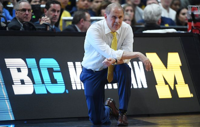 John Beilein looks on during his final game as coach of Michigan, a Sweet 16 loss to Texas Tech on March 28 in Anaheim, Calif. (Getty Images).