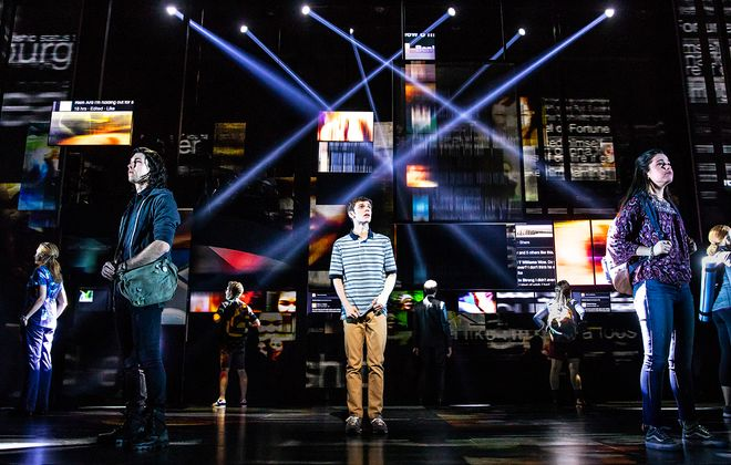 """Ben Levi Ross, center, leads the cast of """"Dear Evan Hansen,"""" now on stage at Shea's Buffalo Theatre. (Photo by Matthew Murphy)"""