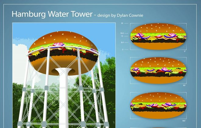 Fundraising will begin soon to paint the Hamburg water tower like this burger designed by Dylan Crownie.