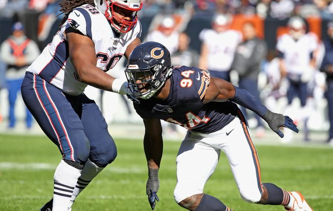 """The Bills' LaAdrian Waddle, shown here blocking Leonard Floyd of the Chicago Bears, said """"Being over in New England, every time we played Buffalo, they definitely always played us tough. They always gave us a hard time and playing them, you can see those guys play hard."""" (Getty Images)"""